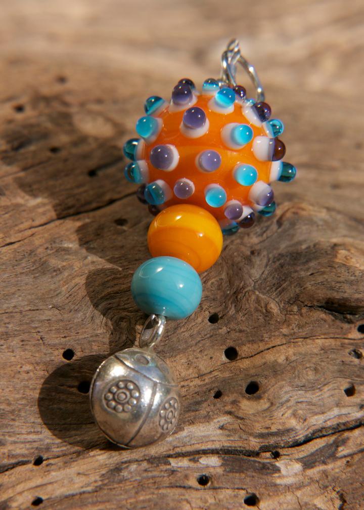 Glasperlen selber machen Anhänger orange Himmelsperlen