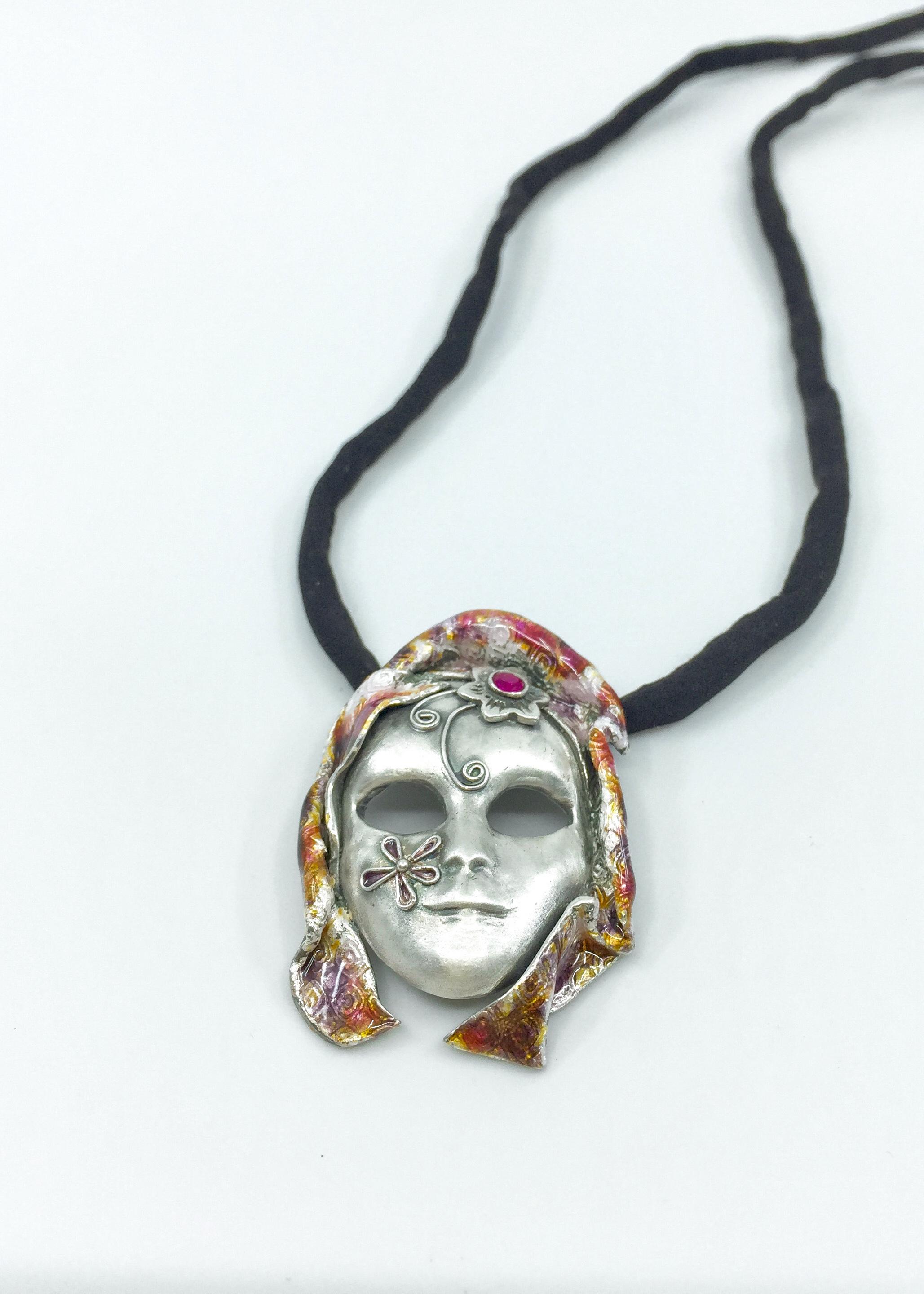 Kunsthandwerk Art Clay Silver Anhänger Maske Himmelsperlen