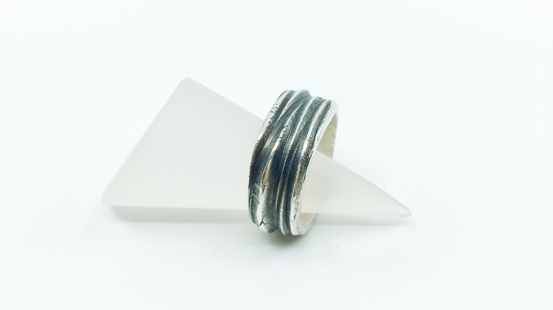 Kunsthandwerk Art Clay Silver Ring Himmelsperlen