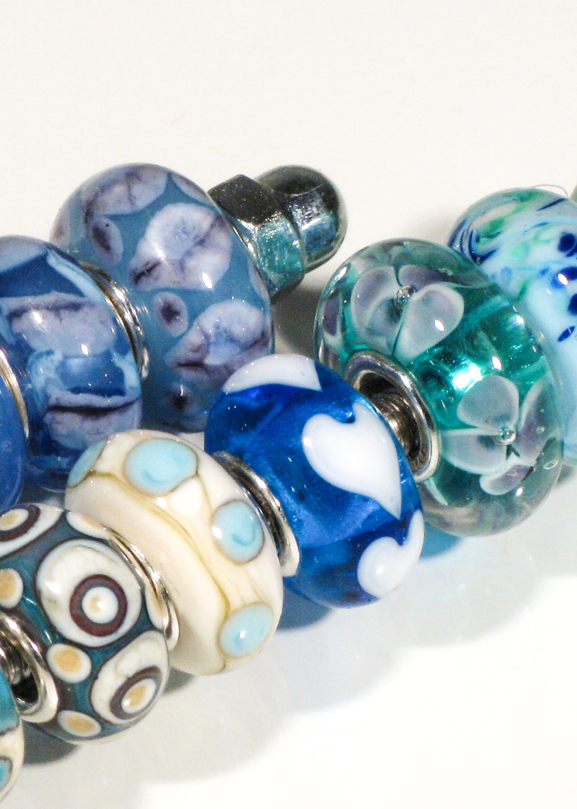 Glasperlen drehen Pandora beads blau