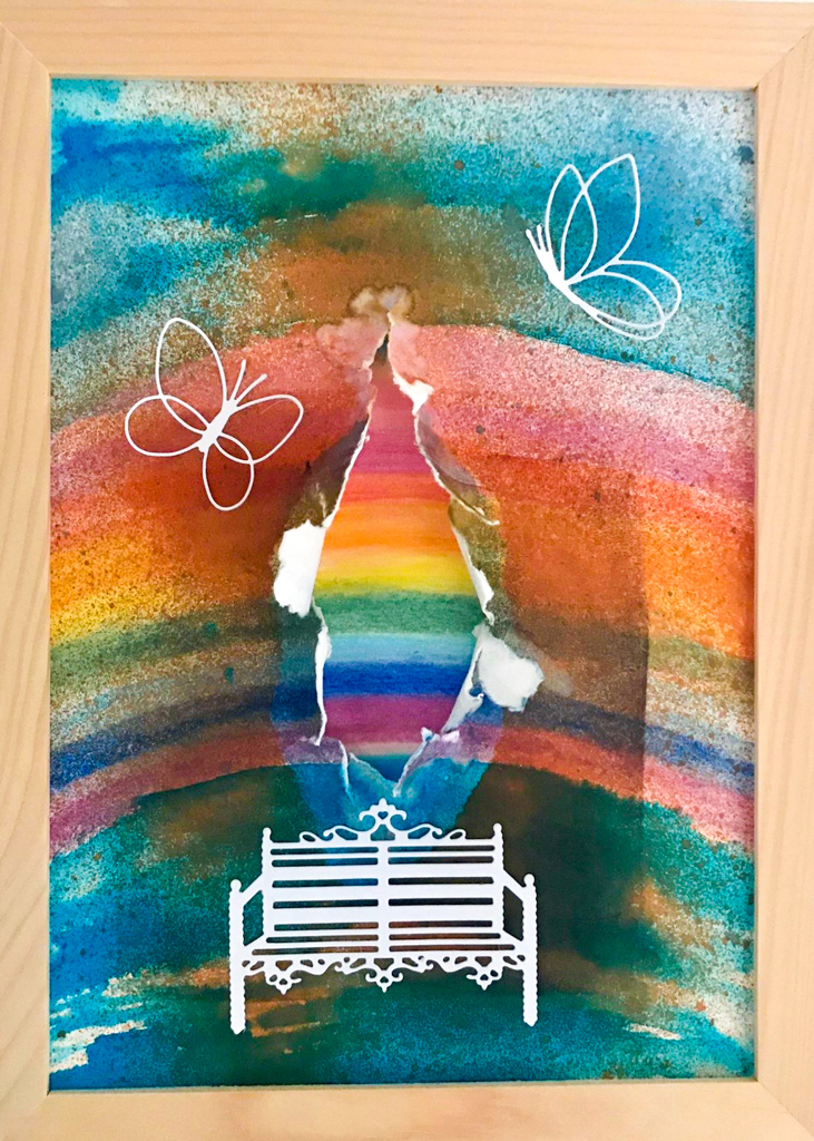 Kursimpressionen Bible Art Journaling Regenbogen Bänkli