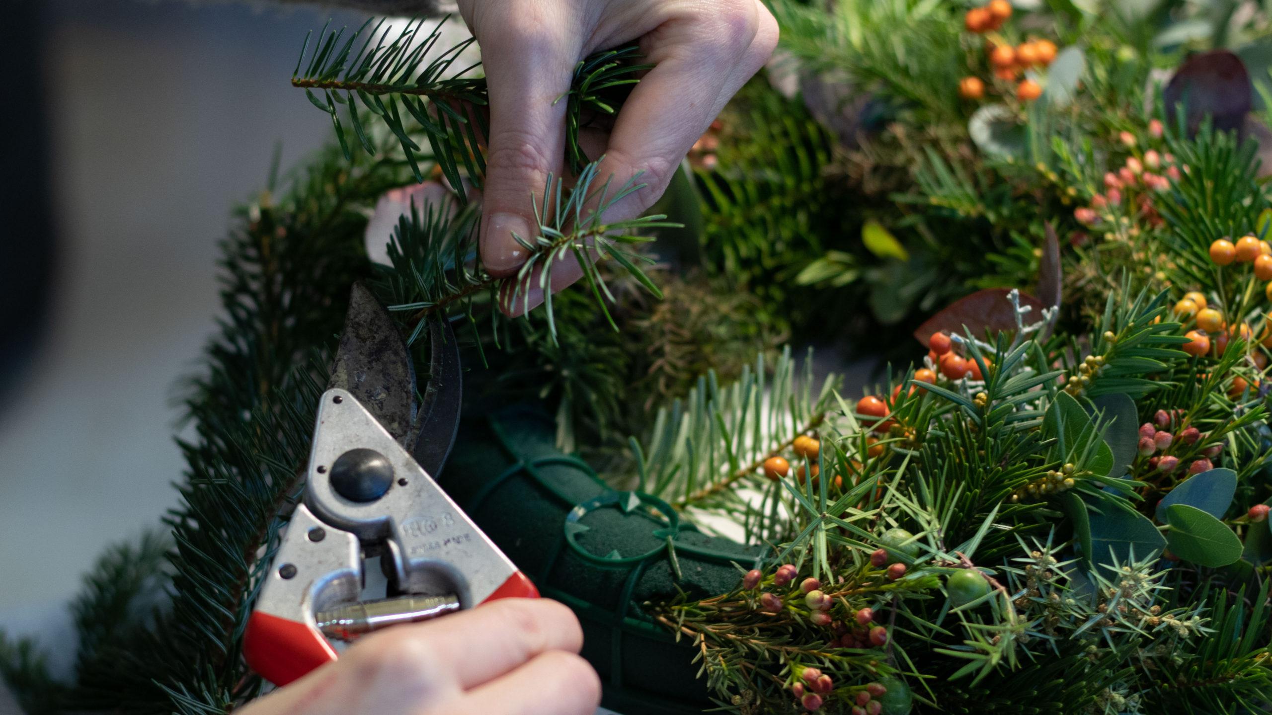 Adventskranz selber machen Zweige zuschneiden